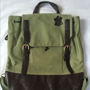 Other - Olive Green Leather Backpack